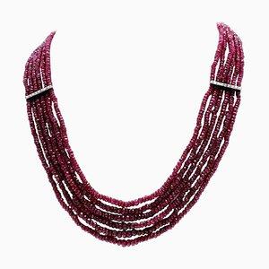 Ruby, Diamond & White Gold Necklace