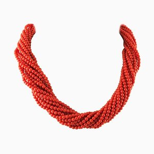 Intertwined Multi-Strand Red Coral Bead Necklace with 18K Yellow Gold Closure