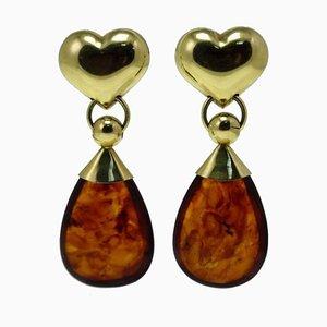 Amber & 18K Yellow Gold Heart Shaped Drop Earrings, Set of 2