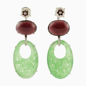 Handgefertigte Ohrringe aus Diamant, Giade, Perlmutt, Granat und Weißgold, 2er Set