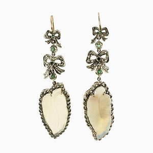 Handcrafted Earrings with Opal, Diamonds, Emeralds, Rose Gold and Silver, Set of 2