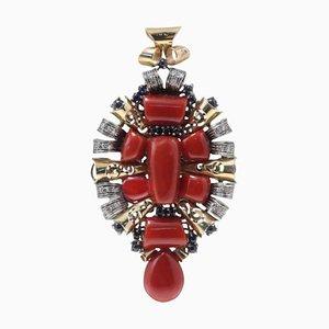 Handgefertigter Anhänger mit Diamanten, blauen Saphiren, roten Korallen & 14 Karat Gold