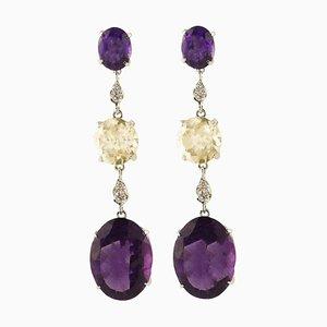 Handgefertigte Ohrringe mit Diamanten, Amethysten, gelben Topasen und Weißgold, 2er Set