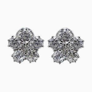 Boucles d'Oreilles en Or Blanc et Diamants Artisanaux, Set de 2