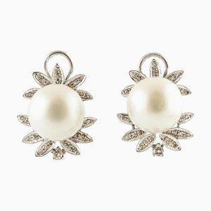 Handgefertigte Ohrclips mit Diamanten, weißen Perlen & 14 Karat Weißgold, 2er Set