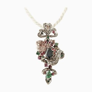 Handcrafted Pendant with Diamonds, Rubies, Emeralds, Sapphires, 9 Karat Rose Gold and Silver