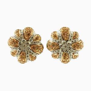 Boucles d'Oreilles en Or Blanc et Jaune 14 Carats, Diamants Artisanaux, Saphirs Jaunes, Set de 2