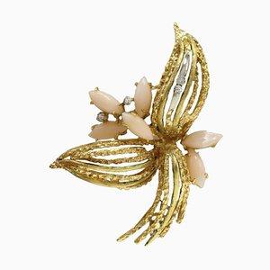 Broche Artisanale avec Diamants Blancs, Corail Navette Rose et Or Blanc et Jaune 18K