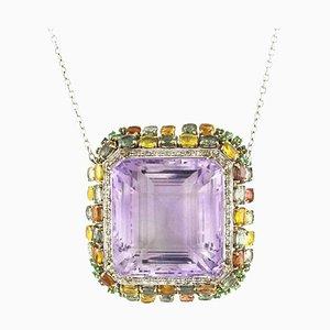 14K White Gold Pendant with Diamonds, Amethyst, Sapphires & Emerald