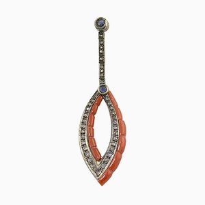 Red Coral, Blue Sapphire, Diamond, Rose Gold and Silver Pendant Necklace