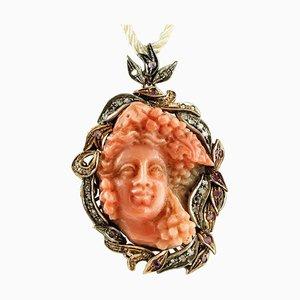 Roségold und Silber Anhänger oder Brosche mit Diamanten, Rubinen & Gravur Orange Koralle