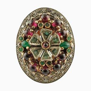 Roségold und Silber Cocktail Ring mit Rubinen, Diamanten & Smaragden
