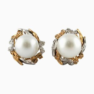 14K Rose and White Gold Drop Earrings with Diamonds & Australian Pearls, Set of 2