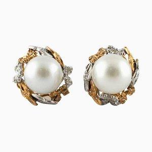 14K Rose und Weißgold Tropfen Ohrringe mit Diamanten & Australischen Perlen, 2er Set