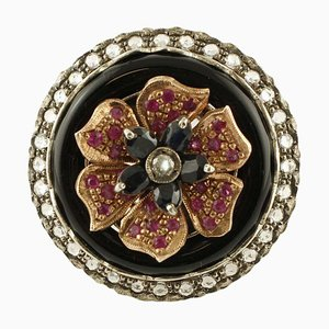 Rose Gold and Silver Flower Ring with Diamonds, Rubies, Australian Blue Sapphire & Onyx