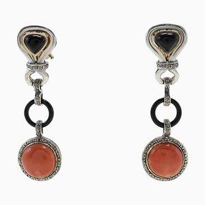 Boucles d'Oreilles Diamants, Onyx, Corail Rouge, Or Rose 14K et Argent, Set de 2