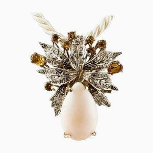 Diamond, Topaz, Pink Coral & 18 Karat White Gold Pendant Necklace
