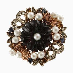 Onyx, Perle, Blauer Saphir, Diamant, Roségold und Silber Cocktail Ring