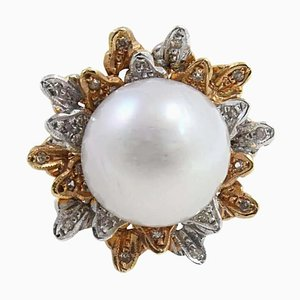 Diamond, Pearl, Yellow Gold and White Gold Ring