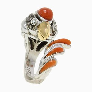 Italian Diamond, Coral & Gold Rooster Ring