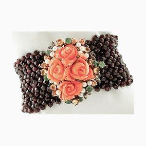 Bracelet with Garnets, Diamonds, Emeralds, Yellow Topaz, Coral & Pearl