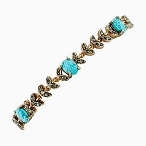 Bracciale in turchese intagliato, diamanti, oro rosa e argento