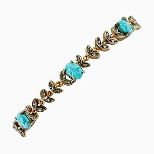 Carved Turquoise, Diamond, Rose Gold and Silver Bracelet
