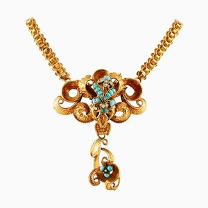 Antique Yellow Gold Necklace with Turquoise and Pearls, 1850s
