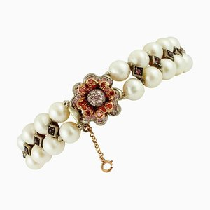 Handcrafted 9K Rose Gold and Silver Bracelet with Pearls, Garnets & Colored Stones