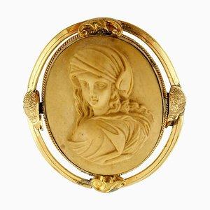 Antike Kamee Brosche aus Gelbgold
