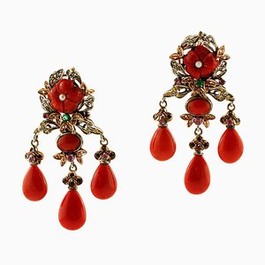 Rose Gold and Silver Earrings with Coral, Diamonds, Emeralds, Rubies, Sapphires & Pearls, Set of 2