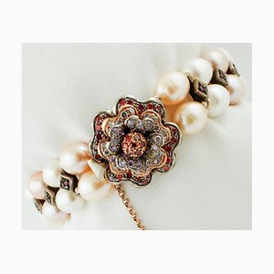 9K Rose Gold and Silver Bracelet with Pearls, Rubies & Stones