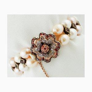 9K Roségold und Silber Armband mit Perlen, Rubinen & Steinen
