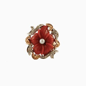 Coral Flower, Diamond, Pearl, Rose and White Gold Ring