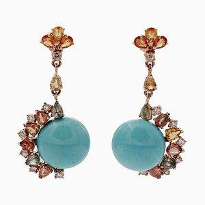 Boucles d'Oreilles Diamants, Saphirs Colorés, Turquoise, Or Rose, Set de 2