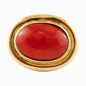 Korallenroter & 18 Karat Gelbgold Ring