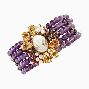 Bracelet Camée en Améthyste, Diamant, Topaze, Grenat et Perle