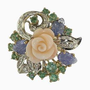 Diamant, Smaragd, Blauer Saphir, Korallenblume, Rose und Weißgold Ring