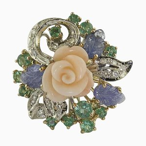 Diamond, Emerald, Blue Sapphire, Coral Flower, Rose and White Gold Ring