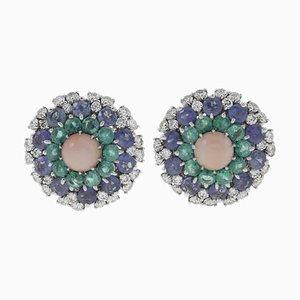 Ohrstecker mit weißen Diamanten, blauen Saphiren, Smaragden, rosa Korallen und Weißgold, 2er Set
