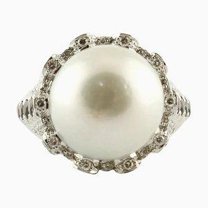 White Gold Ring with Topazes, Iolites, Tourmalines, Diamonds & Australian Pearl