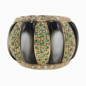Diamonds, Tsavorite, Grey Mother-of-Pearl & Gold Dome Ring