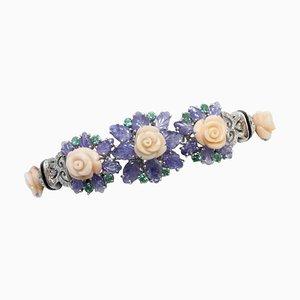 Bracelet en Saphir, Diamant, Corail, Émeraude, Onyx et Or Blanc