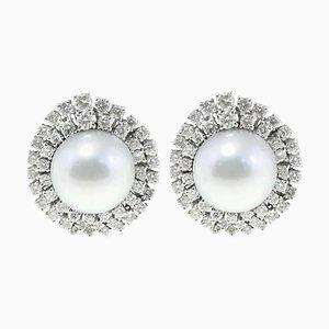 Orecchini in oro bianco 18 carati, 4,11 Ct e perle australiane, set di 2
