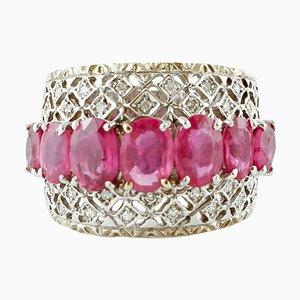 Diamond, Ruby and 14 Karat White Gold Band Ring