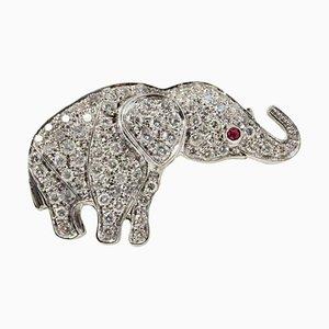 Broche ou Pendentif en Or Blanc, Diamant et Rubis