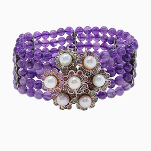 Amethyst, Precious Stone, Pearl, Gold and Silver Bracelet