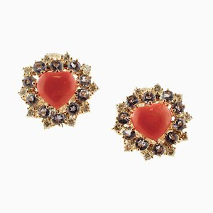 Diamonds, Tanzanite, Heart Shape Red Coral, and Rose Gold Clip-on Earrings, Set of 2