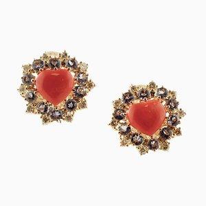 Ohrclips aus Diamanten, Tansanit, Roter Koralle und Roségold in Herzform, 2er Set