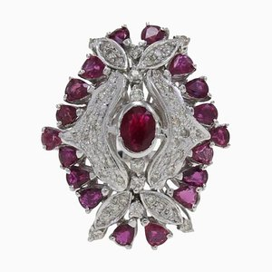 Ruby, Diamond & Gold Dome Ring